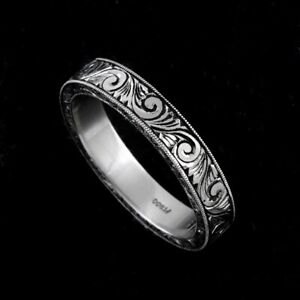 White Gold Hand Engraved Black Antique Finish Wedding Band Ring 4mm Wide