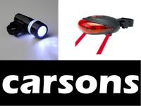 front 5 led & rear laser lights set for bike red torch lantern light 7 modes UK