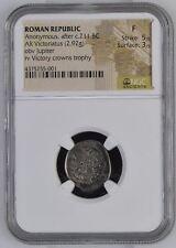 NGC Roman Republic Silver VICTORIATUS, Jupiter, 3rd-2nd Century BC, FINE (#1)