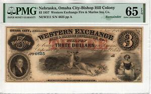 1857 $3 WESTERN EXCHANGE BISHOP HILL OMAHA NEBRASKA OBSOLETE NOTE PMG GEM 65 EPQ