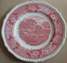 Adams English Scenic Pink Red Salad Breakfast Plate
