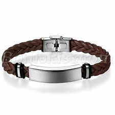 Men Twisted Leather Polished Stainless Steel Bracelet Bangle with Free Engraving