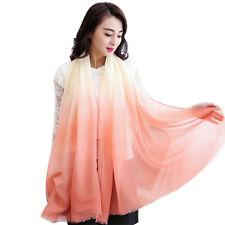 Infinity Scarf Women Gradient Color Long Soft Paris Yarn Silk Scarves Shawl Wrap