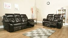 PRESENTO 2 AND 3 SEAT RECLINING SOFA SET BROWN LEATHERAIR DECORATIVE STITCHING