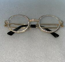 Iced Out Clear / Gold Round Steampunk Glasses