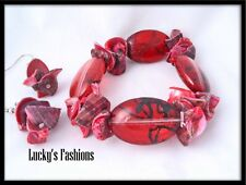 Beads Shell Accents Stretch Bracelet Earring Set Red