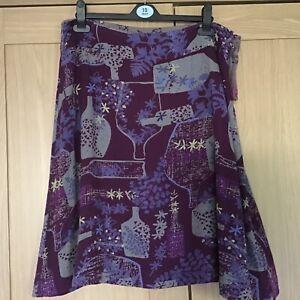 White Stuff Reversible Skirt in Dark Grey/ Purple - Size 12