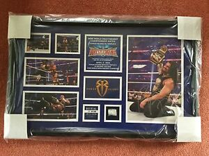 WWE Wrestlemania 32 Commemorative Plaque Signed by Roman Reigns