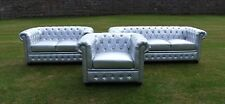 Brand New Silver Bycast Leather Chesterfield Diamante 3 Piece Suite - Stunning!