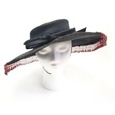 New listing Vintage Don Anderson Wide Brimmed Straw Hat Women's Ladies Brown Red Beads Bow