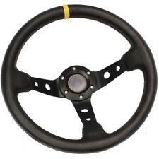 BLACK DEEP DISH DRIFTING/TRACK CAR STEERING WHEEL RACE/SPORTS/DRIFT/LEATHER EFF