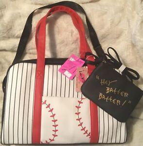 Betsey Johnson Baseball Softball Weekender Tote Shoulder Bag Duffle-DAMAGED- NEW