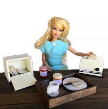 MiniMolly Dollhouse Furniture, BARBIE SIZE Breakfast Set Toaster  1:6 scale