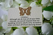 50 Rustic Butterfly Cards - Requesting Adults Only at Wedding