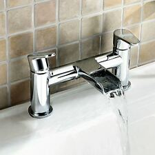 AQUARIUS ROUND WATERFALL BATHROOM BATH FILLER MIXER CHROME TAP