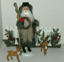 Byers choice, Colonial Williamsburg, Woodland Santa w/ Cardinals,free deer/fence