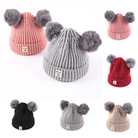 Baby Kid Girl Boy Beanie Winter Warm Cotton Knitted Double Pom Bobble Hat Cap MD