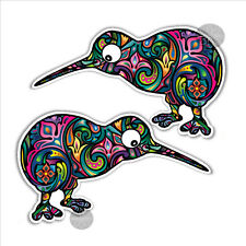 Kiwi bird new zealand mirrored pair colourful bumper sticker 130 x 83mm vinyl