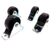 40mm FIXED WHEEL BLACK NYLON CASTORS (40mm x 17mm WHEEL) - 66 x 25 PLATE