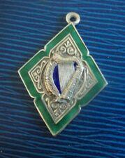 Irish Sterling Silver & Enamel  Medal or Fob - Harp - Dublin 1938 not engraved