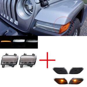 Smoke LED Daytime Running Lights+Side Marker Lights for Jeep Wrangler JL 2018-19