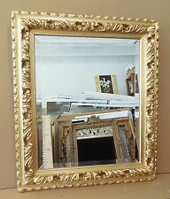 "Large Ornate Solid Wood ""28x32"" Rectangle Beveled Framed Wall Mirror"