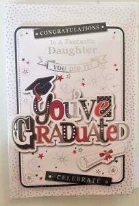 GRADUATION CARD DAUGHTER EXAMS UNIVERSITY WELL DONE GRADUATE 23 X 15 CM