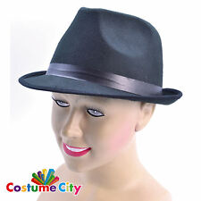 Adults Blues Brothers Trilby Fedora Hat Gangster Fancy Dress Costume Accessory