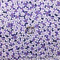 BonEful Fabric FQ Cotton Quilt Purple White Yellow Flower Girl Small Tone Print