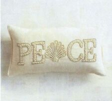 """Pier  1 Beaded Shell Peace Lumbar Christmas Toss Pillow 24""""W x 12"""" New with Tag"""