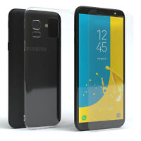 Samsung Galaxy J6 Hülle Silikon Handy Cover Case + Schutzglas 9H Glas Folie