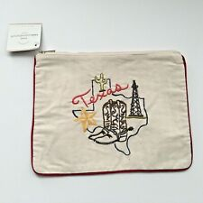 """Pottery Barn """"Texas"""" Embroidered Top Zip Travel Pouch Make Up Bag Red Piping New"""