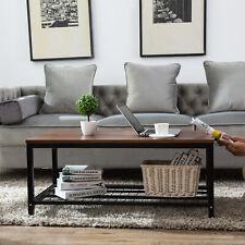2 Tier Large Wood Coffee Table Rectangular Storage Shelf Living Room Furniture