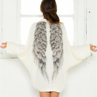 Fashion Women's Casual Long Sleeve Angel Wings Prints Coat Cardigan Jacket Tops