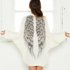 Women's Casual Long Sleeve Angel Wings .Prints Coat Cardigan Jacket Tops White*