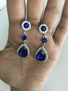 """2"""" Long Silver Royal Blue Dangle Rhinestone Crystal Pageant Earrings Teardrop"""