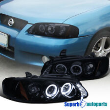 For 2000-2003 Nissan Sentra Halo LED Smoked Projector Headlights Glossy Black