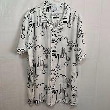 ASOS DESIGN Mens NWT Regular Revere Scribble Print Shirt in White Size 2XL