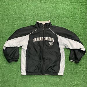 Raiders NFL Reebok Full Zip Jacket Silver Black Windbreaker Nylon Youth medium