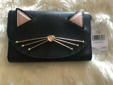 Kate Spade Jazz Things Up Cat Winni Black Leather Crossbody Wallet Clutch NWT!