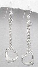 """1.81"""" Solid Sterling Silver Heart on String Dangle Earrings 2g Feminine BEAUTY"""
