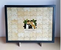 Wedding 60 pcs Jigsaw Puzzle Guestbook alternative, wooden, rustic, engagement,