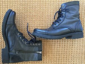 Steve Madden TANAAR Combat Black Leather Gray Zip/Lace Cap Toe Boots Size 8 NIB