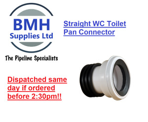 WHITE SOIL PIPE WC TOILET STRAIGHT WASTE PAN CONNECTOR. FREE DELIVERY!!