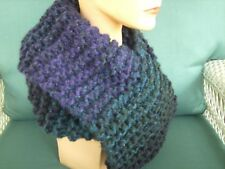 Handmade Knit infinity scarf Outlander style PURPLE and BLACK