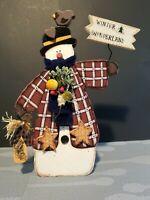 "12"" Wooden Snowman Hand made Hand painted Winter Wonderland  Sign Decor"