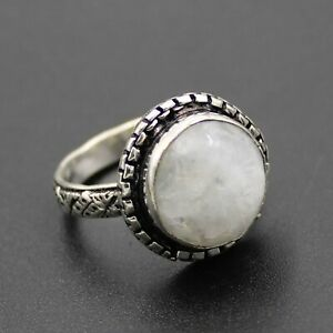 925 Sterling Silver Plated Rainbow Moonstone Ring Size 7.5 US Jewelry RJ176-66