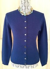 LORD & TAYLOR 100% Two-Ply CASHMERE Cardigan ~ S ~ Deep Marine Blue ~ EUC