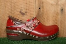 SPRING STEP 'Winsome' Red Leather Floral Clogs EUR 36   US 5.5-6