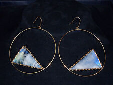 LANA 14 CT YELLOW GOLD ROUND EARRINGS with ENAMEL COLORED TRIANGLE STONE